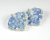 Feather Scrolls Porcelain Earrings In Glaicer Blue With Sterling Silver Earwires