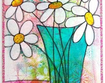 Green Vase - Art Quilt
