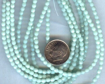 Fire Polished Faceted Czech Glass Round Beads Opaque Pale Jade 3mm 50pcs