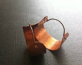 Copper Hoop Earrings (medium) Wide and Hammered