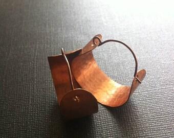 Copper Hoop Earrings (medium) Wide and Hammered