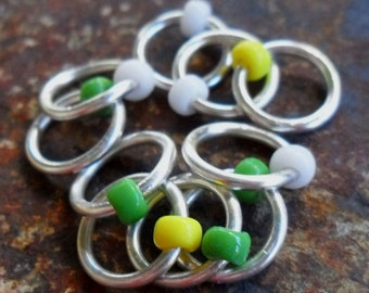 Dangle Free Knitting Stitch Markers - Frangipani - Choose Ring Size and Quantity