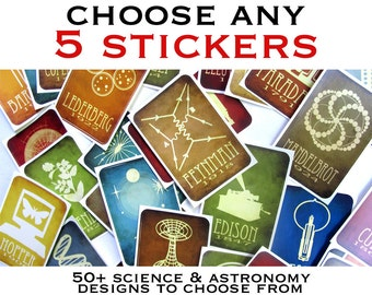 Pick ANY 5 Stickers - Science and Astronomy Stickers Vinyl Decals, Women In Science, STEM Stickers, Rock Star Scientists, Solar System