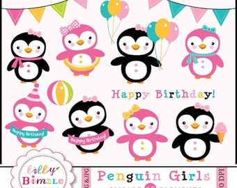 80% off Girl Penguins clipart pink penguin for birthday invites, parties, cards Pink, Pool Party INSTANt DOwnload