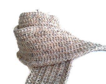 Rustic Wool Scarf Natural Beige Oatmeal Men Women DRAKE Ready to Ship - Winter Accessories