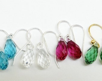 Swarovski Crystal earrings. Faceted briolette drops. Sterling silver ear wire. ONE PAIR