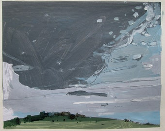 Tall Sky, August 1, Original Landscape Collage Painting on Paper, Stooshinoff
