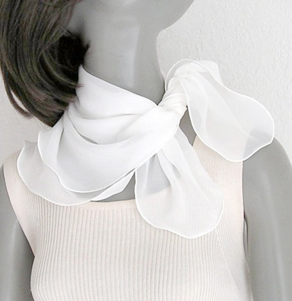 small white scarf square neck scarf silk scarflette by