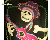 Dia de Los Muertos day of the dead appliqued denim shirt