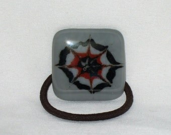 Glass Ponytail Holder, Gray Fused Glass with Red, Black and White Hand painted Design, Handmade Hair Accessories, Women's Accessories