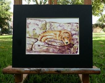Cuddled Golden Retriever Puppy Dog Watercolor Art Original Painting Canine Sketch Illustration by Artist debra alouise