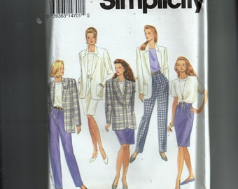 Simplicity Misses' Pants, Skirt, Blouse and Lined Jacket Pattern 8708