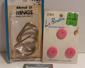 Pink Buttons and Metal D Rings