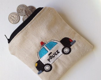 Police Car Embroidered Toddler Zip Pouch