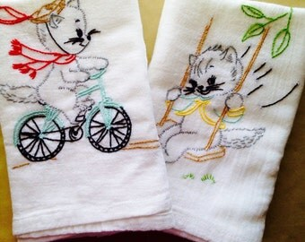 Playful Cat Embroidered Dish Towels