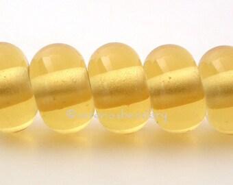 Lampwork Bead Spacer 5 PALE AMBER TOPAZ Glossy & Matte Handmade Donut Rondelle Glass Beads sra yellow