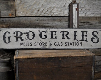 Custom Store & Gas Station Sign - Rustic Hand Made Vintage Wooden ENS1000472