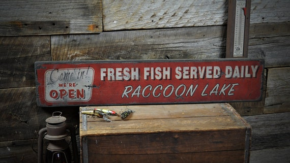 Custom fresh fish served daily sign rustic hand made vintage for Daily fresh fish