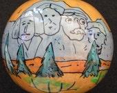"Hand-Painted Gourd Christmas Ornament by Artist Sandy Short ""Mount Rushmore, South Dakota"" design."