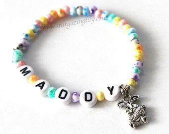 Easter Bunny Charm bracelet Personalized Name bracelet Tie Dye Pastel Beads Bunny Rabbit with carrot Great Easter basket filler /Party Favor
