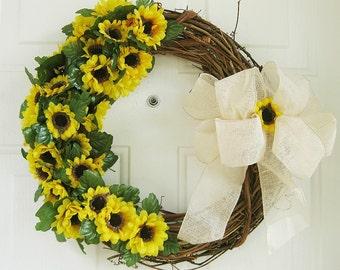 Sunflower Wreath - Summer Sunflower Wreath-Spring Wreath - Fall Sunflower Wreath-Year Round Sunflower Wreath