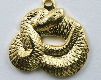 15mm Gold Coiled Snake Charm #216