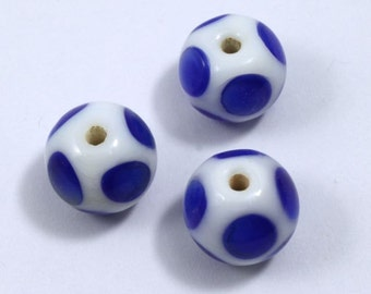 12mm Handmade Round White Bead with Blue Spots (4 Pcs) #1105