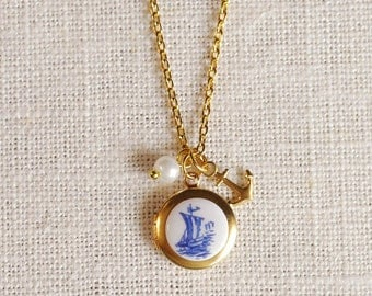 tiny anchor locket necklace . nautical charm necklace . sailboat necklace . silver or gold anchor necklace // PRTA