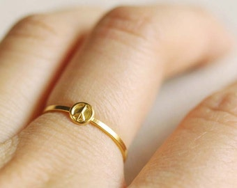 peace sign ring . gold peace ring . silver peace ring . stackable peace sign ring . tiny peace sign ring . peace sign stacking ring // 4PEAC