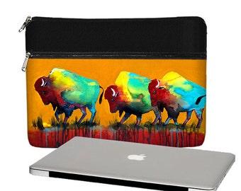 Clara Nilles 13 inch Laptop Sleeve /  Macbook Pro 13 Case / 13 Macbook Air Bag /  Mac Pro Retina Case Buffalo Bison orange red RTS