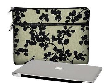 "13 inch Laptop Cover, Womens Floral Laptop Bag, Macbook Air 13 Case, Macbook Pro 13"" / Air / Retina  black beige RTS"