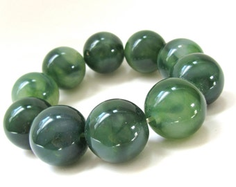 Vintage Marbled Lucite Stretch Bracelet - big, chunky dark green gumball beads - oversized beaded bracelet - early plastic statement jewelry