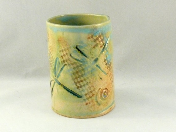 Desk accessory pencil holder - vase with dragonfly - dragonflies toothbrush holder