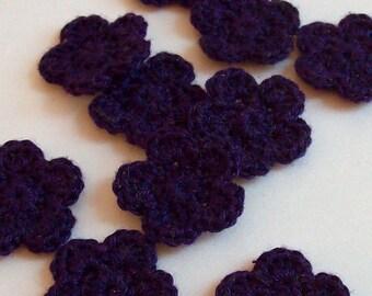 Mini Crochet Flower Appliques, 10 Dark Purple Embellishment Embellishment, Scrapbooking On Etsy