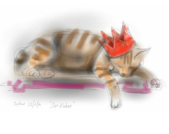 greetings card: 'Der Kater' / 'The Morning After' - art card, blank inside