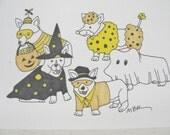 Halloween Greeting Card Halloween Card Halloween Corgi Halloween Card Corgis in Costumes Pet Dog Halloween Card