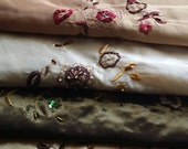 Embroidered fabric pieces, beaded fabrics, embroidered fabrics, see listing for measurements