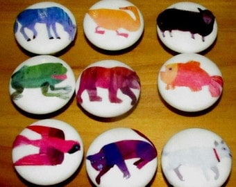 ON SALE Ceramic Knobs made to match ERIC Carle Brown Bear Brown Bear - Per Knob Listing