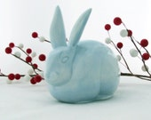 Pale Blue Cottontail Rabbit Ceramic Cotton Ball Holder for Bath Vanity Bunny Cotton Keeper