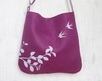 Fuschia Tote Handbag - Shoulder Messenger Bag for Women - Flying Swallows Screen Printed Hemp Bag - Crossbody Bag - Fabric Tote