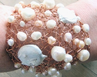 BUBBLES and CHAMPAGNE - Pearls - Wonder Woman - GODDESS - Cuff - Bracelet - Copper - Statement, CatROCKS, White, Cream, Champagne