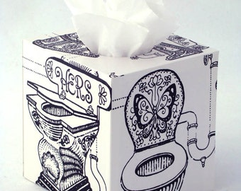Fancy Commode Tissue Box Cover 1960's Vintage Wallpaper