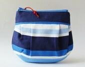 Zipper pouch makeup bag navy blue stripe marine blue white nautical stripes red bead round zipper pouch summer light blue