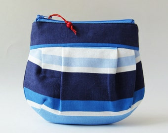 Zipper pouch makeup bag navy blue stripe marine blue white nautical stripes red bead round zipper pouch summer light blue