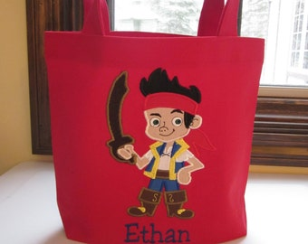 TOTE BAG Jake the Pirate Personalized Toddler or Big Kid Tote