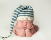 Newborn Boy Knitted Hat BaBY PHoTO PRoP Long Tail Stocking Hat CoMiNG HoME BeANiE Ivory Slate Blue Stripe Cap CHooSE CoLOR Toque SHoWER GiFT