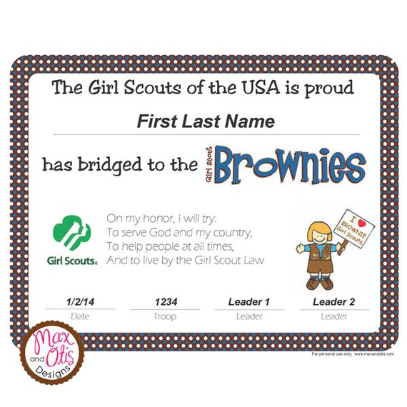 girl scout investiture ceremony certificates | just b.CAUSE