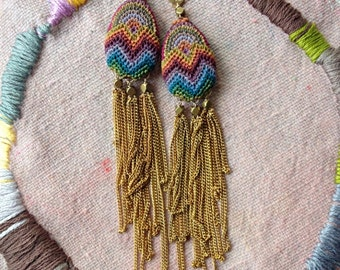 playa sunset  -  flamestitch fringe earrings - balance for earrings