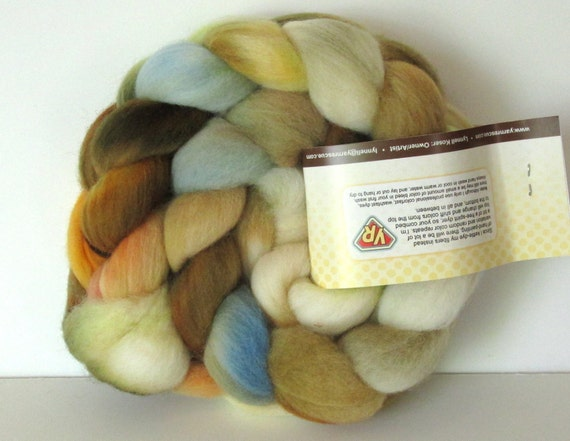 Hand Dyed Polwarth Wool (4.3 oz.) Spinning Fiber Kettle Painted Roving Combed Top Felt Needle Felting Photo Prop SANDSTORM