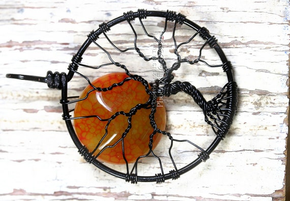 Halloween Full Moon Tree of Life Pendant Orange Black Wire Wrapped Fire Crackle Agate Gemstone Harvest Moon